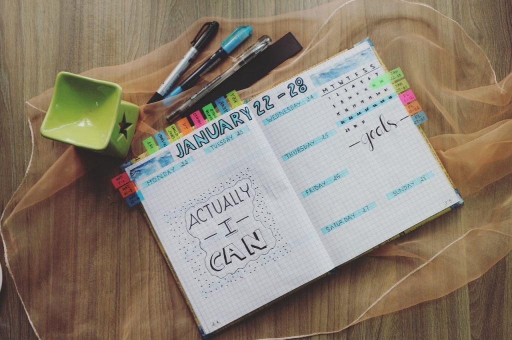 planner and writing calendar