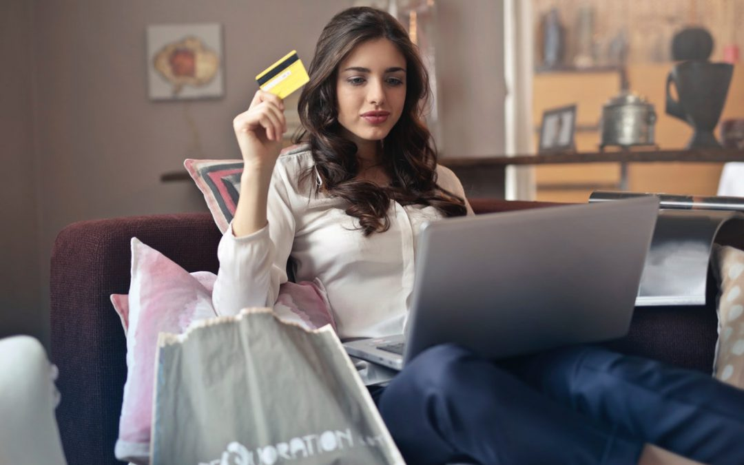 Convert social media to sales woman making purchase online
