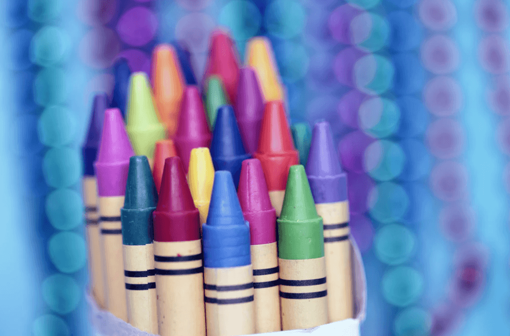 brand awareness with multiple crayons displaying distinct colors