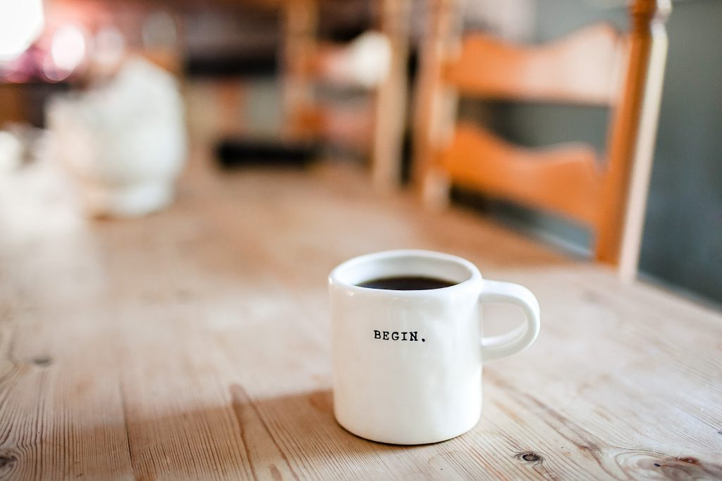Begin a blog with a good blog title and white coffee mug