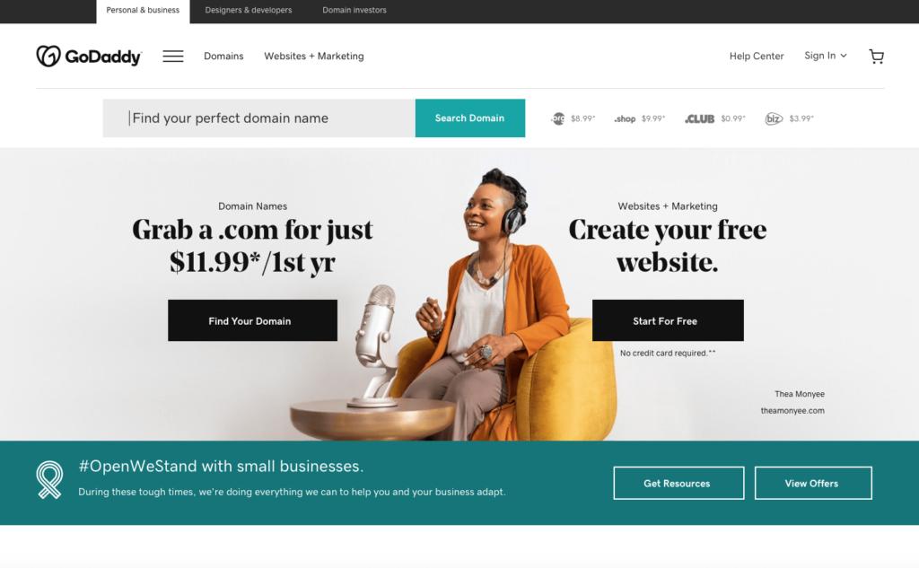 GoDaddy blogging platform