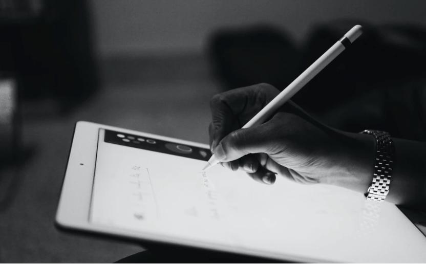 writing copy on an iPad