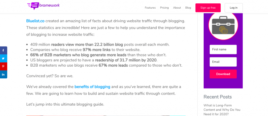 Example of internal and external linking in a blog